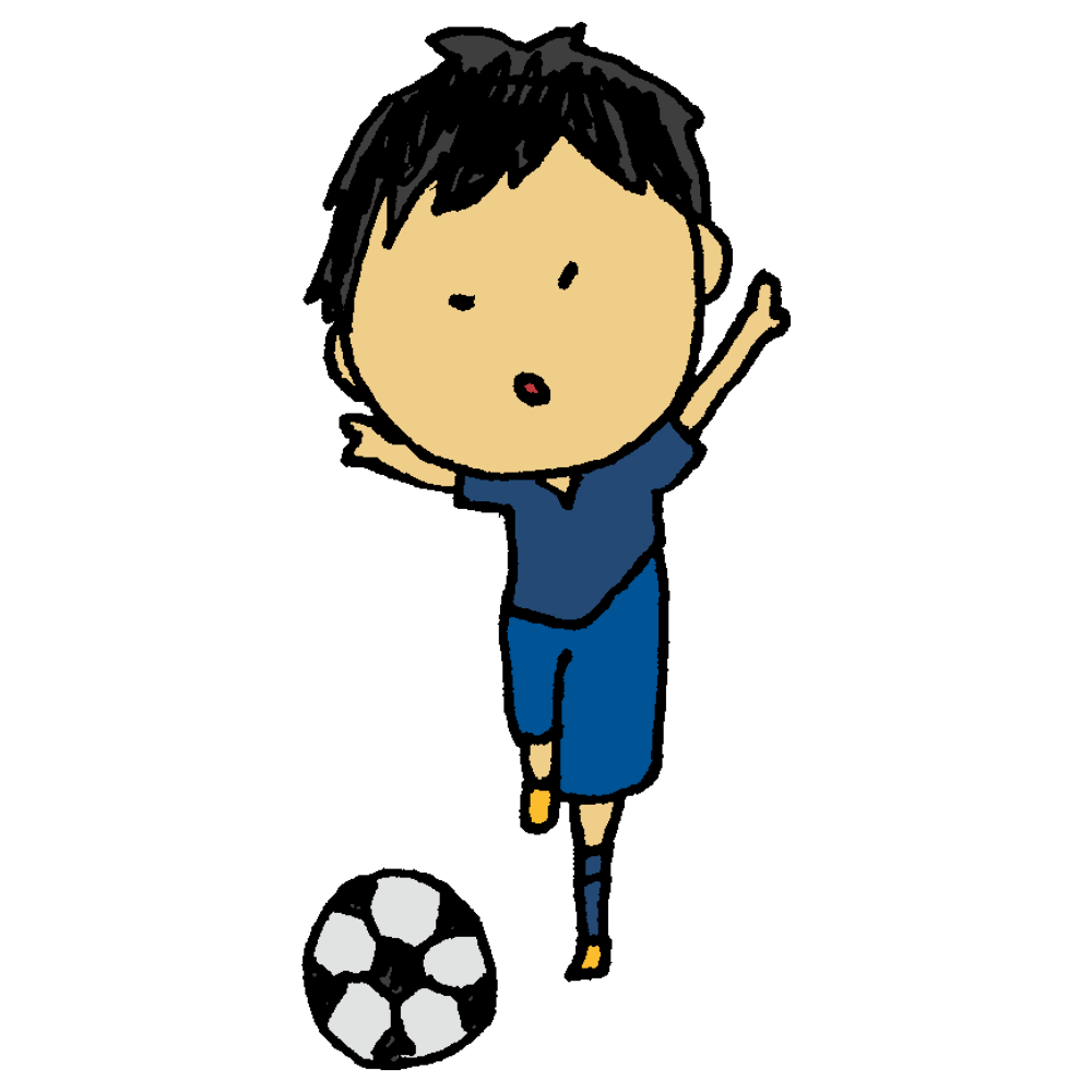 手書き風,人物,男の子,サッカーボールを蹴る,蹴る,サッカー,運動,スポーツ,部活,部活動,サッカー選手,soccer,選手
