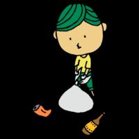 手書き風,男性,人物,ゴミ,ごみ,空き缶,空き瓶,拾う,ゴミ拾い,ボランティア,ボランティア活動,奉仕活動,ゴミ袋,ひろう,環境活動,ポイ捨て,ゴミを拾う,偉い