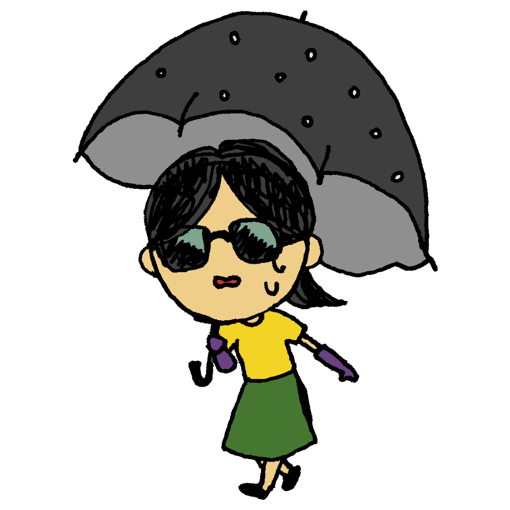 手書き風,人物,女性,日傘,傘,手袋,長い手袋,サングラス,紫外線,紫外線対策,日光,焼ける,日焼け,シミ,雀斑,そばかす,ソバカス,太陽,夏,晴れ,美容,日焼け止め,日焼け対策,外出,ひなた
