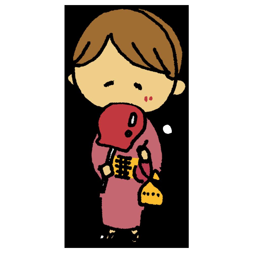 浴衣を着て林檎飴を食べる女性のフリーイラスト