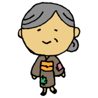 手書き風,人物,おばあさん,お婆さん,昔話,おばあちゃん,着物,むかしむかし,物語,貧乏,つぎはぎ,婆,優しい,優しそう,いいお婆さん