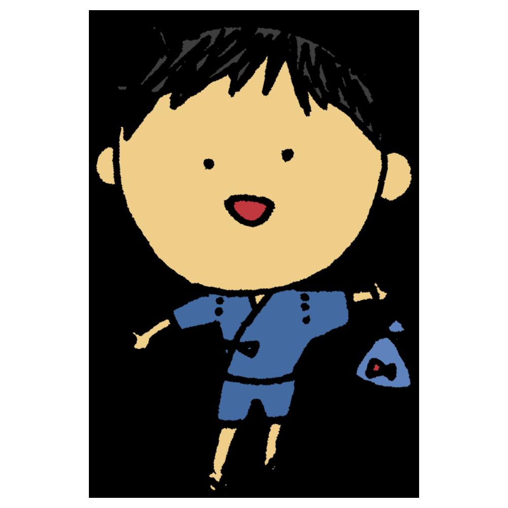 甚平を着た男の子のフリーイラスト