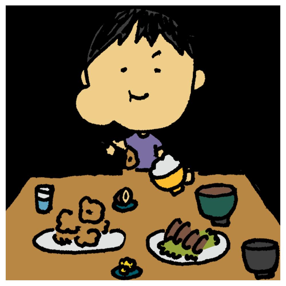 食べる,大食い,食卓,よく食べる,男性,人物,手書き風,もぐもぐ,いっぱい食べる,食べすぎ,太る,食べまくる