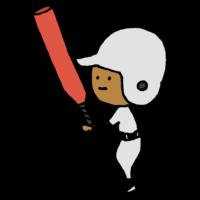 野球のバットを持って構える男の子のフリーイラスト