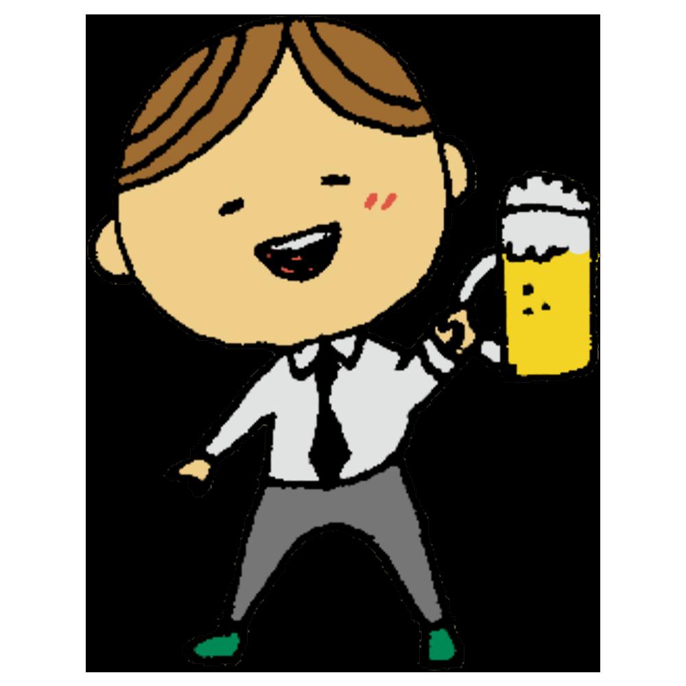 ビールを持ったスーツの男性のフリーイラスト