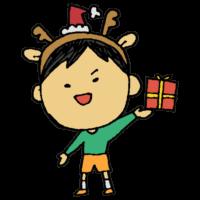 クリスマス,Xmas,Christmas,手書き風,人物,貰う,男の子,12月,冬,イベント,プレゼント,トナカイ,カチューシャ,くりすます