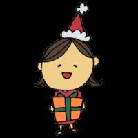 クリスマスにプレゼントをもらう女の子のフリーイラスト