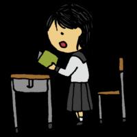 音読をする女子学生のフリーイラスト
