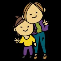 手書き風,人物,ピース,ヤンママ,若い,ママ,男の子,ヤンキー,親子,家族,母子,イケイケ,今時,若いママ,お母さん,息子,一人息子
