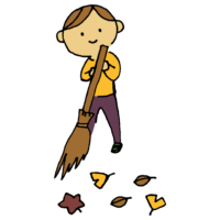 手書き風,人物,男性,落ち葉,掃除,落ち葉掃き,竹箒,箒,ほうき,秋,9月,10月,11月,落ち葉を掃く,枯れ葉,外,庭,清掃,綺麗