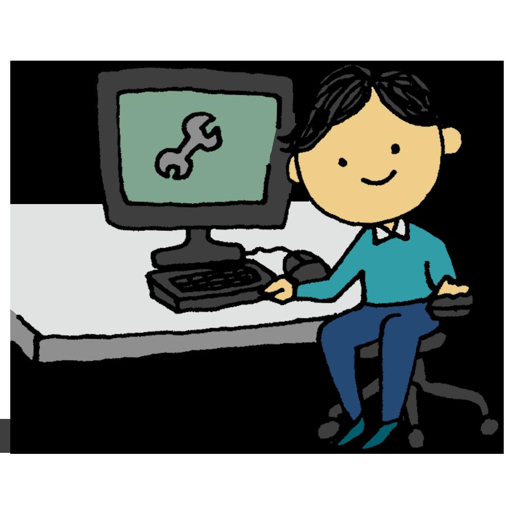 手書き風,人物,男性,システムエンジニア,システム,PC,パソコン,作る,作成,制作,プログラミング,仕事,働く,頭が良い,天才,頭脳