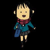 通学時にマフラーをする女子学生のフリーイラスト