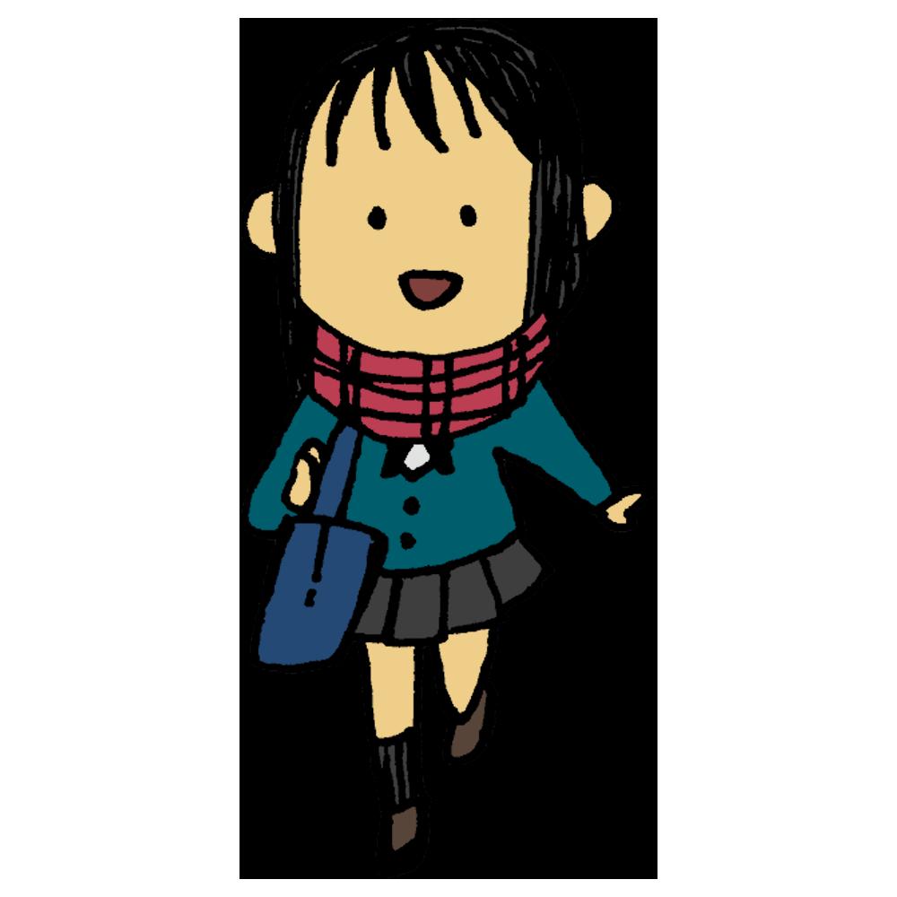 手書き風,女子学生,女の子,制服,ブレザー,冬,1月,2月,3月,12月,寒い,マフラー,通学,帰り道,登校,学校,通う,寒そう,笑顔,走る,歩く