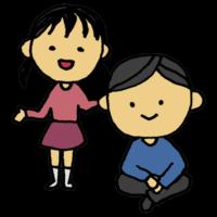 手書き風,親子,父,娘,男性,女の子,お父さん,親父,父親,子供,家族,人物,大人,ツインテール,座る,あぐら,立つ