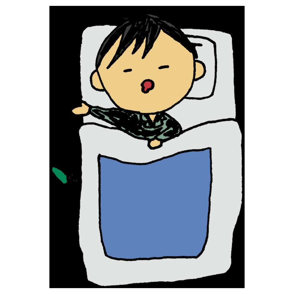 布団で眠る男性のフリーイラスト