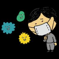 手書き風,人物,咳,ウイルス,風邪,肺炎,咳き込む,ゲホゲホ,辛い,医療,病院,菌,病原菌,病原体,インフルエンザ,キツイ,倒れる