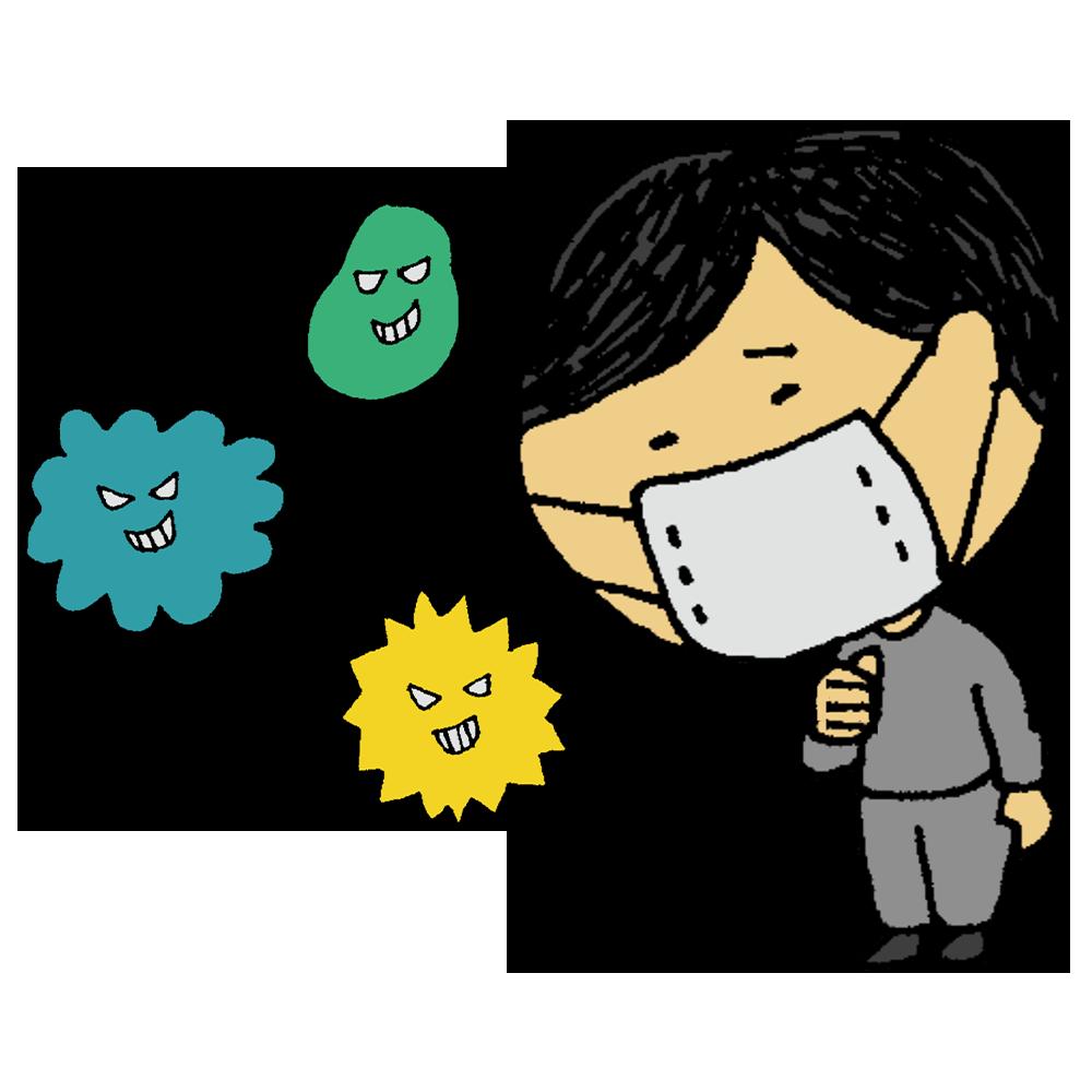 菌が原因で咳き込む男性のフリーイラスト