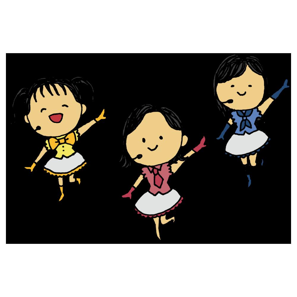 手書き風,人物,女性,3人組,アイドル,ユニット,仲良し,仕事,可愛い,歌う,踊る,キラキラ,眩しい,芸能人,有名人,人気者,美人,音楽