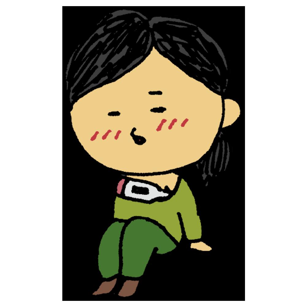 手書き風,女性,熱,発熱,風邪,ウイルス,医療,病気,病院,体調不良,具合が悪い,休む,休み,体温計,微熱,確認,ぐったり