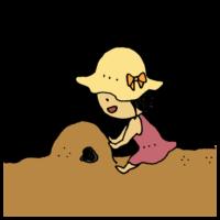手書き風,人物,女の子,子供,遊ぶ,帽子,紫外線対策,紫外線,日よけ,ワンピース,公園,海辺,砂浜,山,作る,トンネル,楽しい,面白い