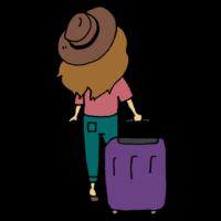 手書き風,人物,後ろ姿,後姿,女性,キャリーバッグ,旅行,帽子,ハット,旅,連休,GW,5月,ゴールデンウィーク,旅先,大型連休