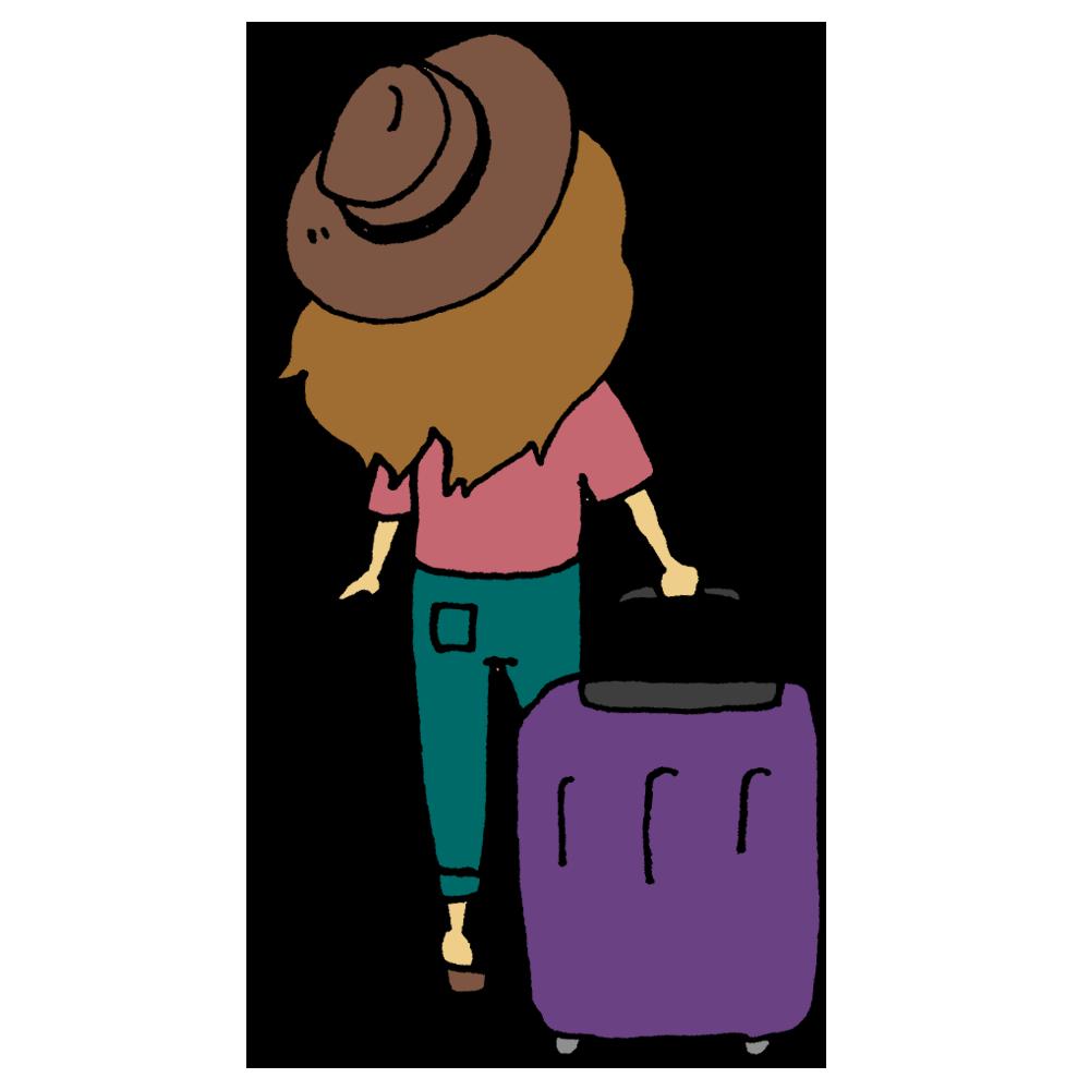 キャリーバッグを持った後ろ姿の女性のフリーイラスト