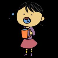 女の子,手書き風,人物,うがい,菌,除菌,帰る,医療,ウイルス対策,風邪予防,風邪対策,ウイルス,雑菌,喉,守る,ただいま,帰宅,体調不良,熱,病院