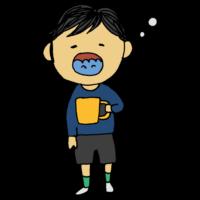 手書き風,人物,うがい,菌,除菌,帰る,医療,ウイルス対策,風邪予防,風邪対策,ウイルス,雑菌,喉,守る,ただいま,帰宅,体調不良,熱,病院,男の子,子供