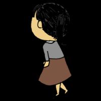 斜め後ろを向く女性のフリーイラスト