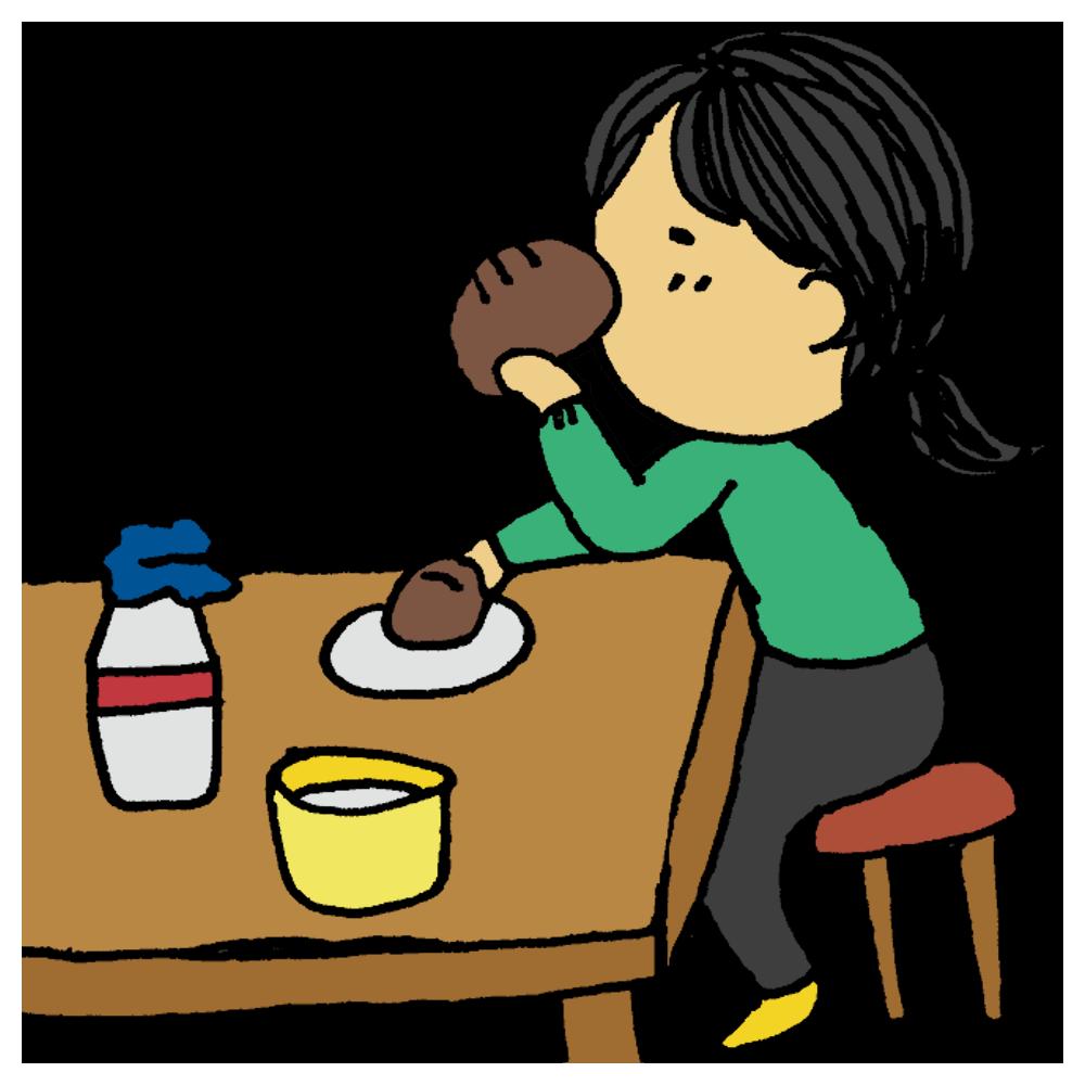 手書き風,人物,女性,いっぱい食べる,食べる,パン,食らいつく,食事,パン,食べ物,昼食,朝食,テーブル,食べた,いただきます,お腹いっぱい,大食い,食品,よく食べる