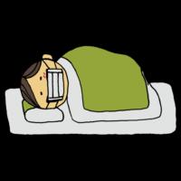 手書き風,寝る,寝込む,風邪,熱,辛い,ボーっとする,ぼんやり,体調不良,疲れた,体が痛い,眠い,寝こむ,ウイルス,病気,医療,人物,男性