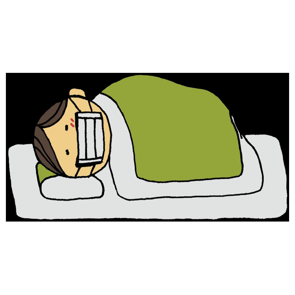 体調不良で寝込む男性のフリーイラスト