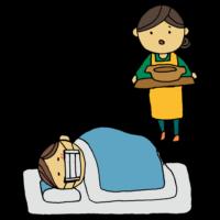 看病する女性のフリーイラスト