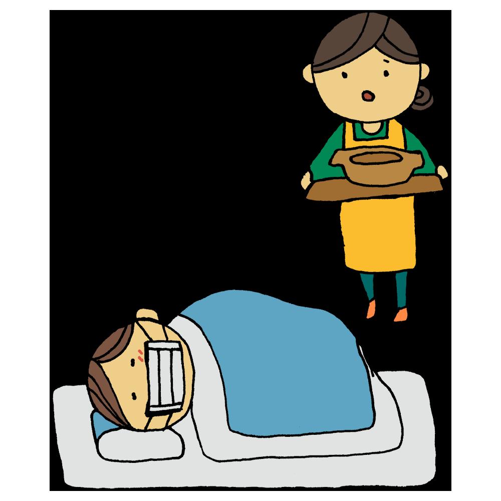 手書き風,人物,看病,病気,風邪,体調不良,おかゆ,おじや,お母さん,母親,看る,体調,心配,大丈夫?,運ぶ,熱,うどん,鍋,一人用鍋,食べる,不安
