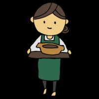 一人用の鍋を運ぶ女性のフリーイラスト