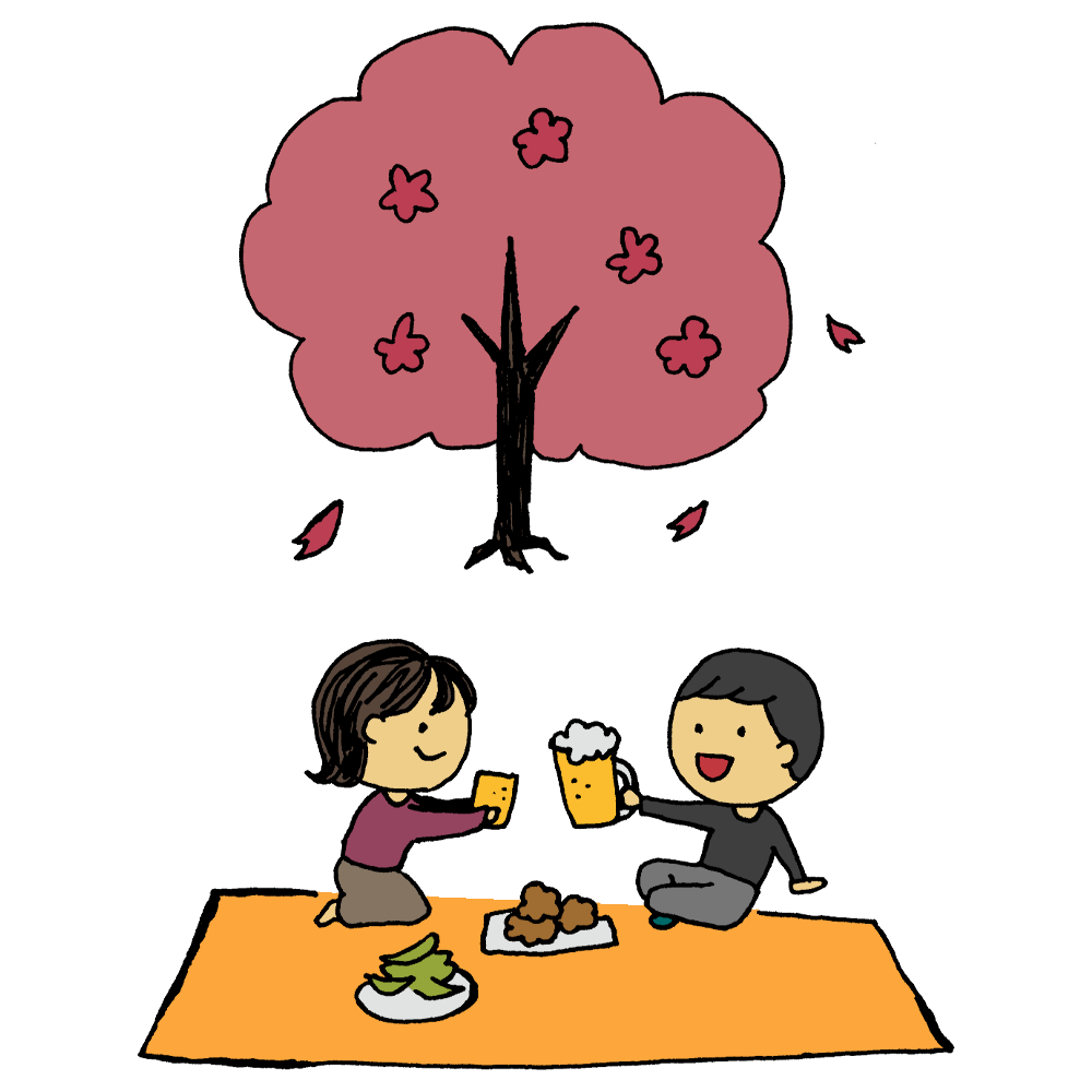 花見をする夫婦のフリーイラスト