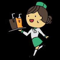手書き風,人物,女性,働く,ウエイトレス,ウェイトレス,運ぶ,料理,飲み物,店員,お店,仕事,お仕事,ワーク,接客業,笑顔,バイト,パート,学生,学生アルバイト,アルバイト,飲食店