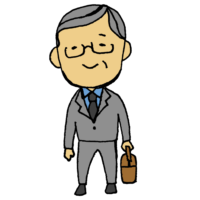 スーツを着た高齢の男性のフリーイラスト