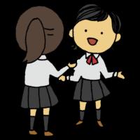 お話する女子学生のフリーイラスト