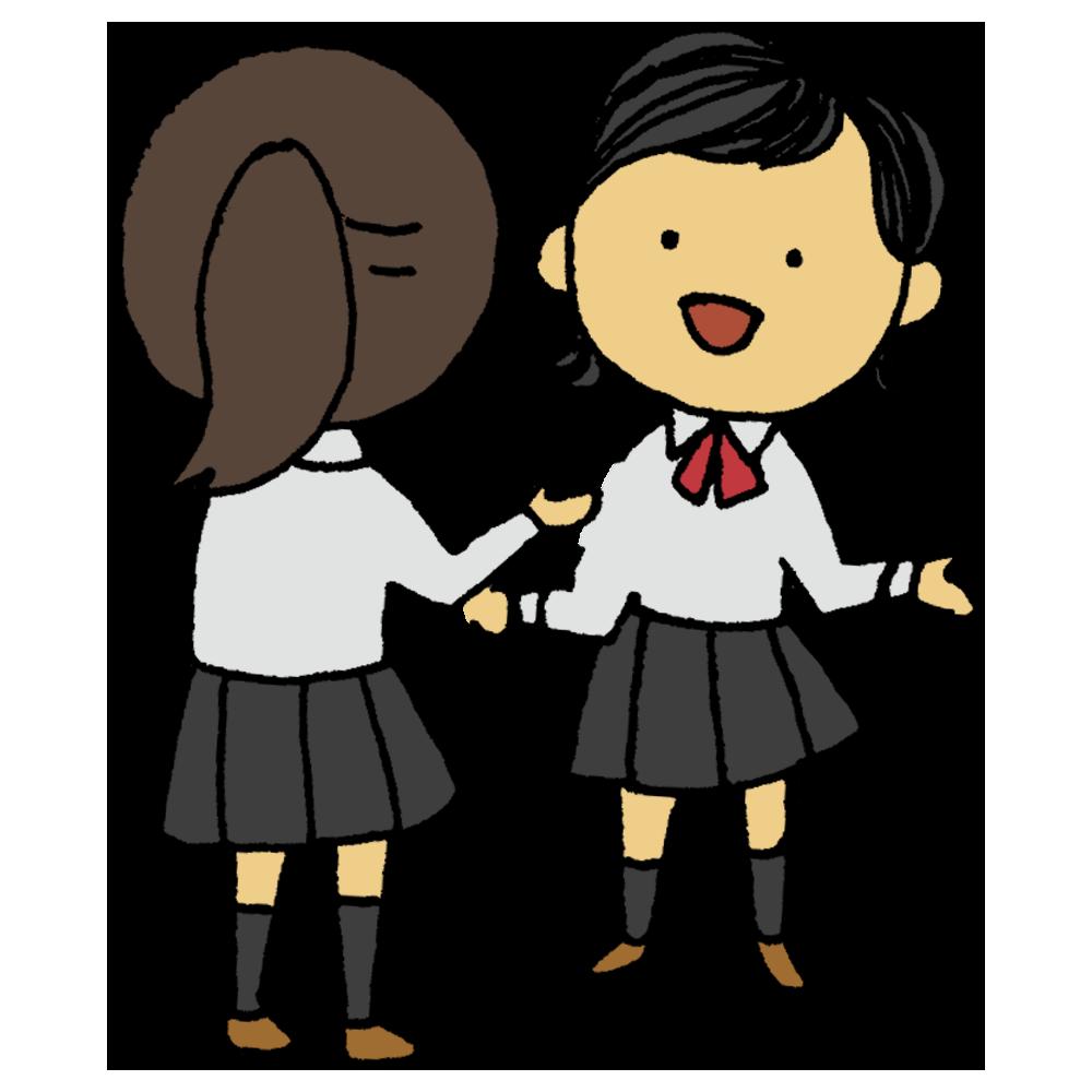 手書き風,人物,女子学生,女子中学生,女子高校生,中学生,高校生,話す,喋る,お話,おしゃべり,お喋り,ぺちゃくちゃ,長話,トーク,ペチャクチャ,語る,身振り手振り,会話,雑談,コミュニケーション,友達,学生,楽しい