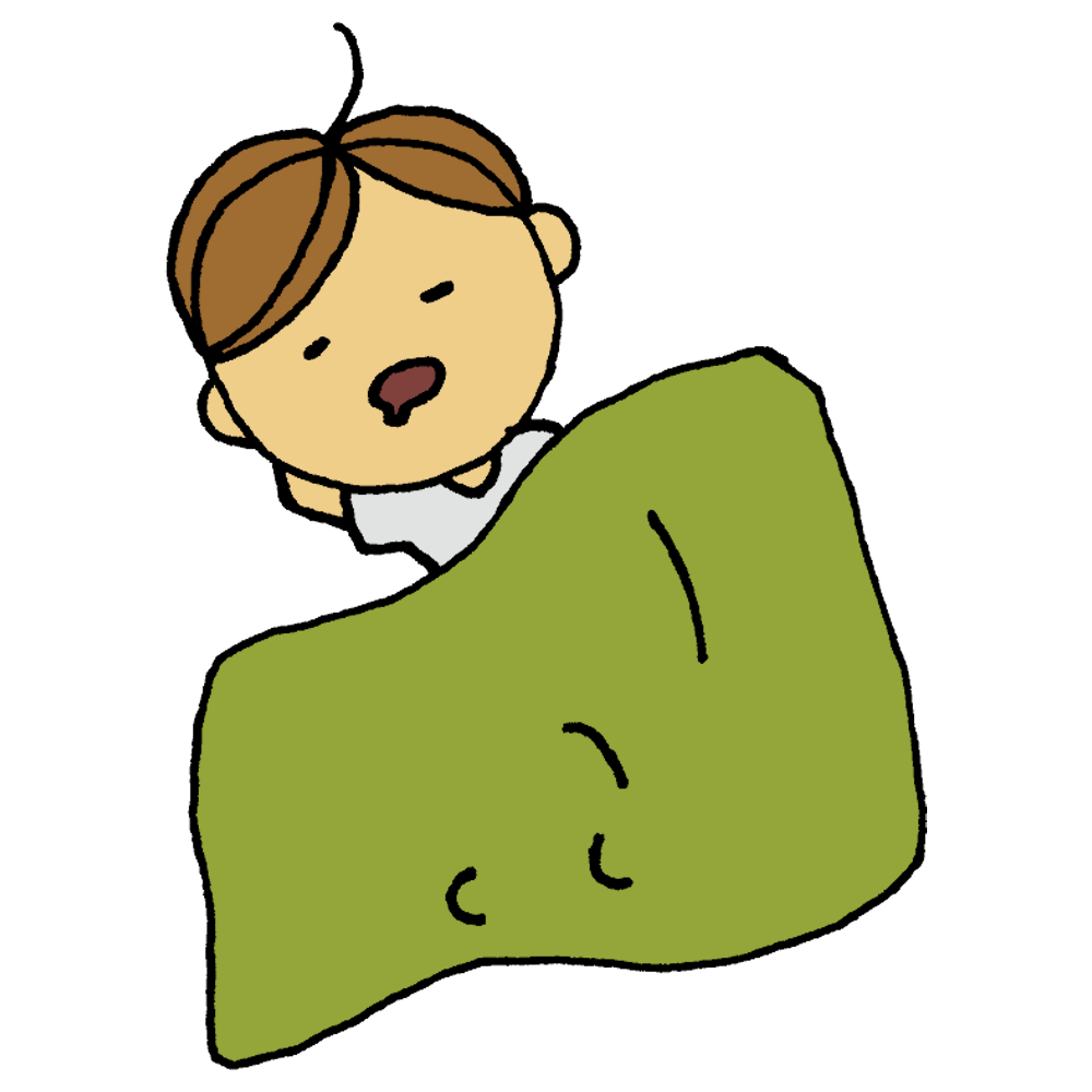 お昼寝をする男の子のフリーイラスト