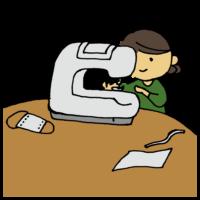 手書き風,ミシン,機械,布,縫う,裁縫,マスク,手作り,ハンドメイド,ますく,人物,女性,作成,作る,マスク不足,なければ作る,ない