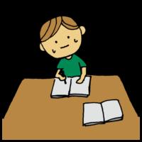 勉強が難しくて焦る男の子のフリーイラスト