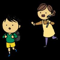 学校に行くのを止める母親のフリーイラスト