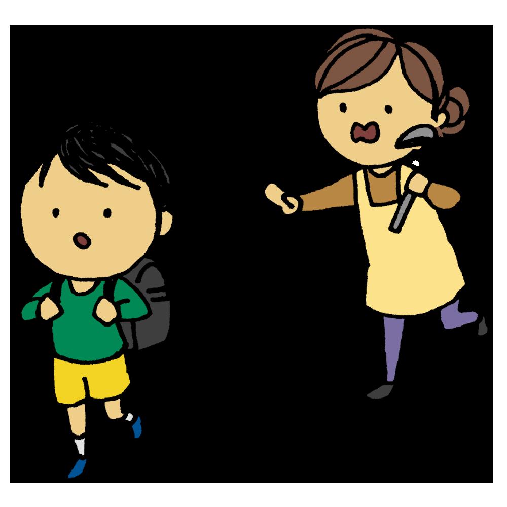 手書き風,人物,学校,登校,止める,STOP,ちょっと待って,待って,待たせる,母親,母,息子,子供,男の子,禁止,登校禁止