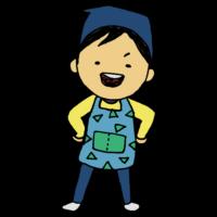 手書き風,人物,エプロン,子供,料理,クッキング,手作り,料理教室,授業,家庭科,学校,お手伝い,手伝う,キッチン,着る,男の子,男子