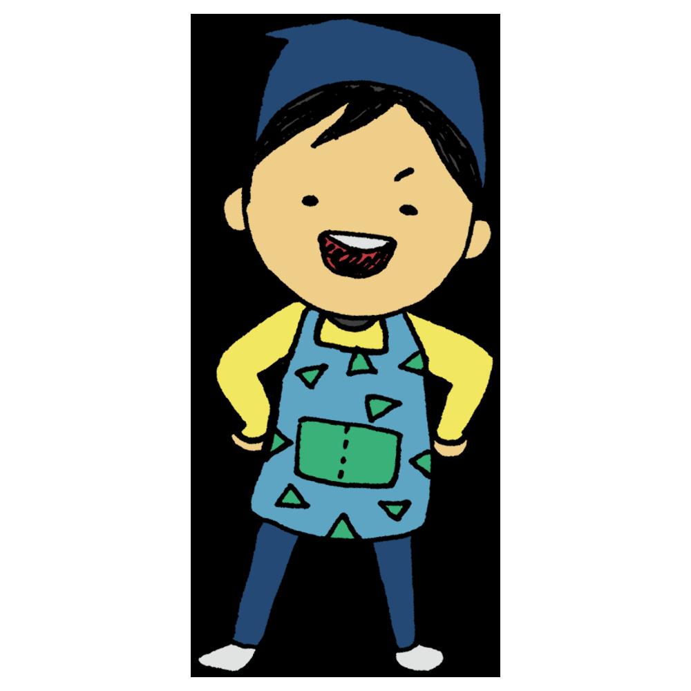 エプロンを着た男の子のフリーイラスト