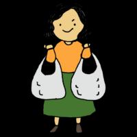 スーパーの袋を両手に持つ女性のフリーイラスト