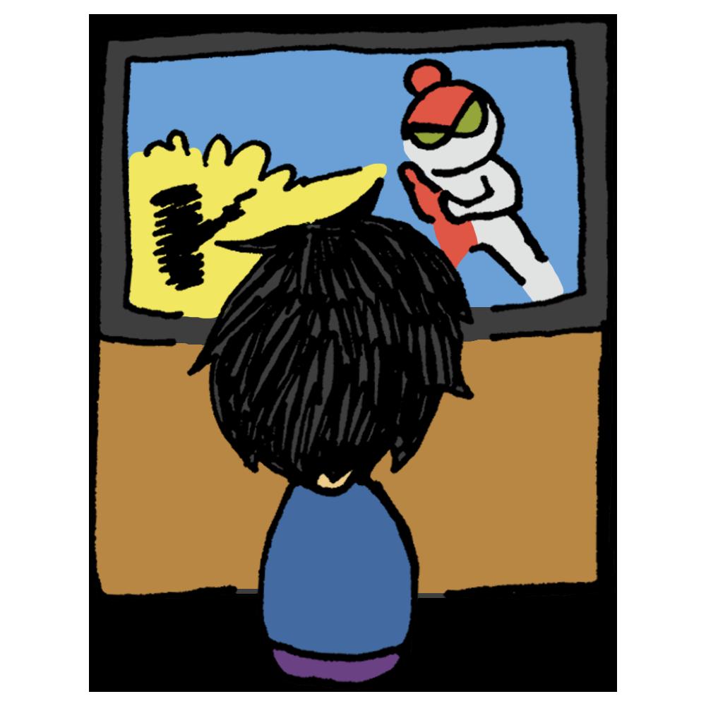 テレビを見る男の子のフリーイラスト