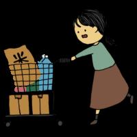 お店で商品を買い溜めする女性のフリーイラスト